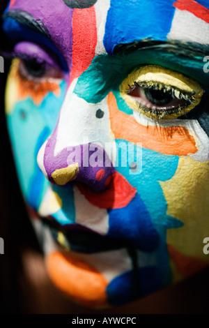Close up of a Girl's visage peint Banque D'Images