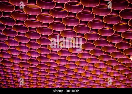 Détail du plafond à l'aéroport, Moscou, Russie Banque D'Images