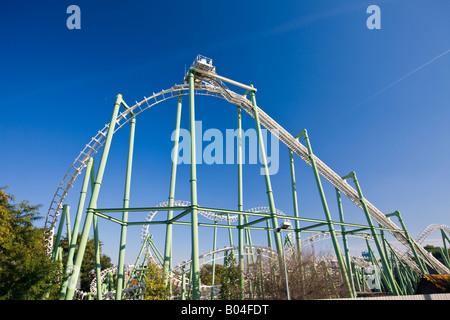 Roller Coaster à l'Isla Magica (Magic Island) parc à thème, à l'île de la Cartuja, ville de Séville (Séville), Province Banque D'Images