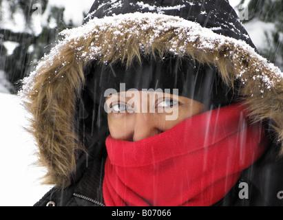 Woman portrait in snow