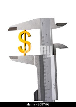 Symbole du dollar, dollar eu lieu entre une découpe, l'étrier Banque D'Images