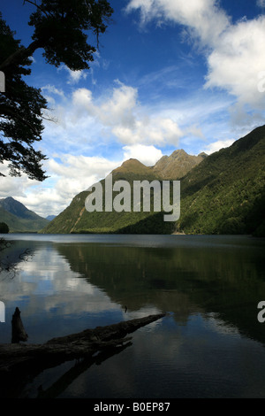 Lake Gunn sur le Milford Sound Parc National de Fiordland Route Banque D'Images