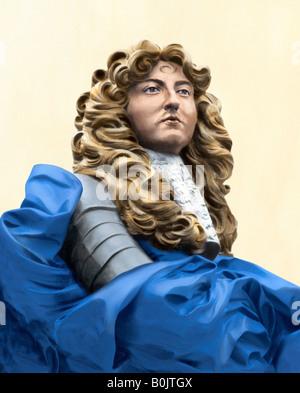 Buste du roi français Louis XIV dans le quartier historique de la ville de Québec, Canada. Photographie couleur Banque D'Images