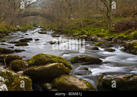À la recherche en amont dans le sens de Watersmeet North Devon UK River East Lyn Banque D'Images