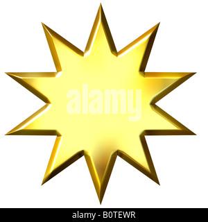 3d golden star 10 points Banque D'Images