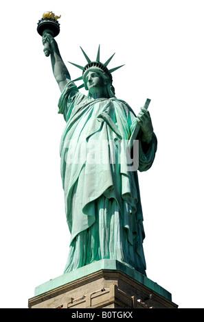 La Statue de la liberté isolated on white Banque D'Images