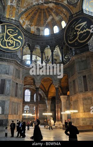L'intérieur, Sainte-Sophie, Istanbul, Turquie Banque D'Images