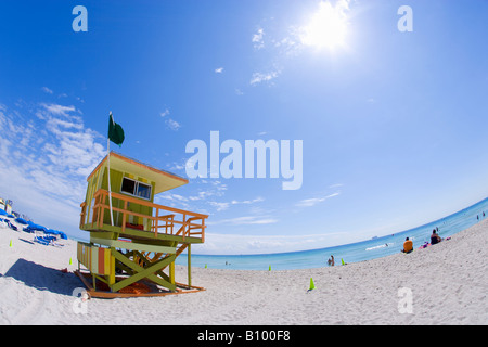 Lifeguard tower, Miami Beach, South Beach, Miami, Floride Banque D'Images