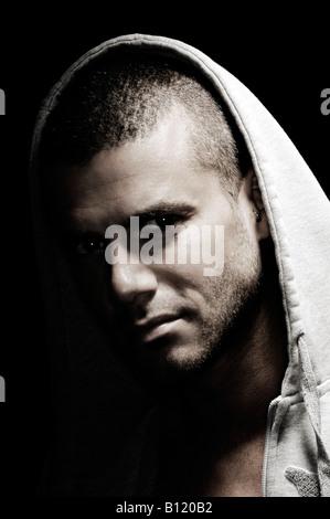 Portrait homme expressif dramatique Banque D'Images