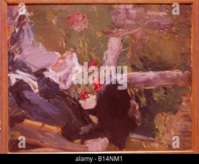"""Beaux-arts, Manet, Édouard, (1832 -1883), peinture, 'La mere de Manet dans le jardin de Bellevue"""", (la mère de 'Manet Banque D'Images"""