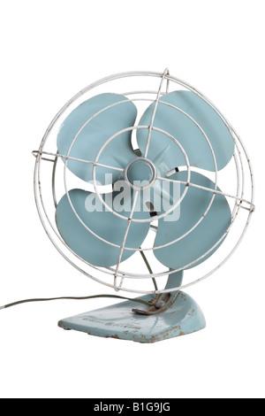 Vintage ventilateur électrique découper sur fond blanc Banque D'Images