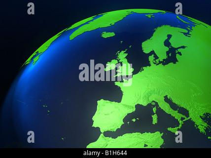 L'Europe sur un monde généré par ordinateur Banque D'Images