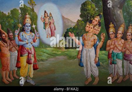 Scène du Ramayana hindou avec Vishnu et Brahma sur le plafond de l'Arunachaleswara , Temple , Tiruvanamalai Tamil Banque D'Images