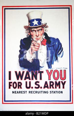 Une photo de la célèbre 'Oncle Sam' poster 'Je veux que vous pour l'armée américaine' utilisé pour le recrutement. Banque D'Images