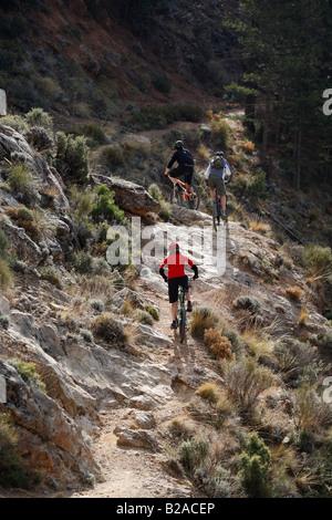 Mountain Biker Ride dans la gamme Sierra Nevada en Espagne Banque D'Images