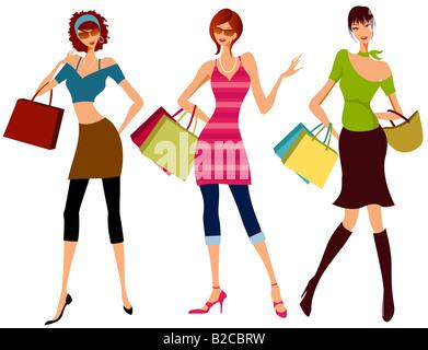 Illustration dessin de filles shopping Banque D'Images