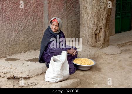 Une dame assise à côté de sa vente à la maison repas sur l'île d'or au Caire Egypte Banque D'Images