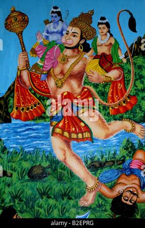 Fresque sur un mur du temple hindou Hanuman représentant l'exécution Rama et Sita, scène de l'épopée hindoue du Banque D'Images