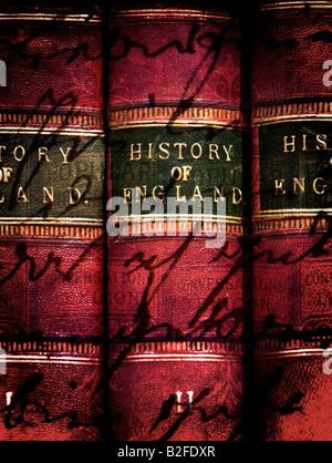 Old Vintage Books Histoire de l'Angleterre 3 Volumes Banque D'Images