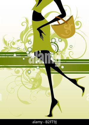 Dessin illustration de fashion girl Banque D'Images