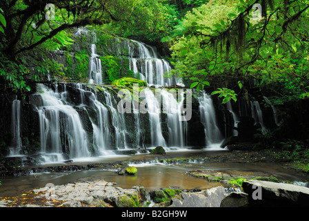 Purakaunui falls parc forestier de catlins otago nouvelle-zélande île du sud jungle