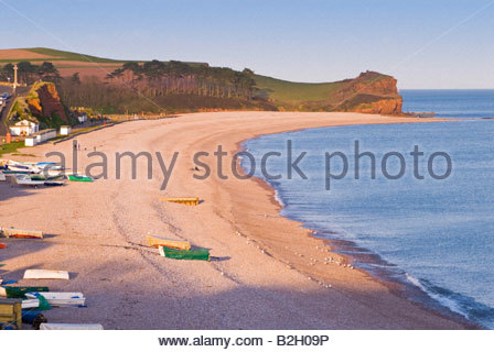 La plage à Budleigh Salterton, l'est du Devon, Angleterre SW. Banque D'Images