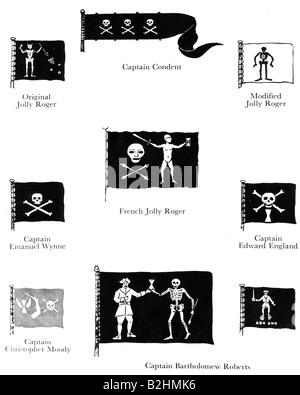 Navigation, pirates, drapeau pirate (Jolly Roger), drapeaux différents, XVIIIe siècle, Christopher Condent, Emanuel Banque D'Images
