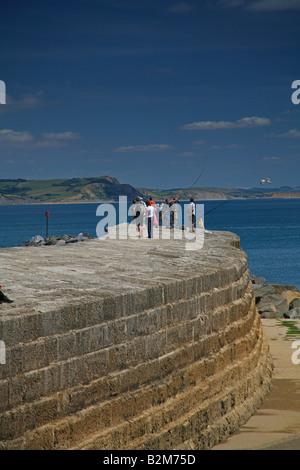 Les visiteurs et les pêcheurs sur la Cobb à Lyme Regis, dans le Dorset, UK Banque D'Images