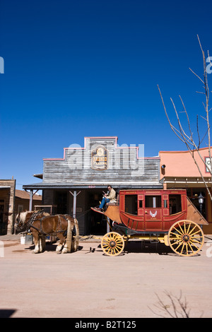 Stagecoach dans Allen Street, Tombstone, Arizona, USA