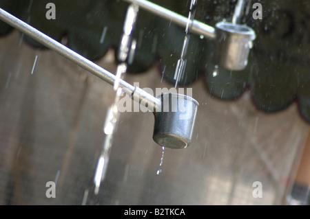 L'eau recueillie à partir de Ottawa-no-taki waterfall le temple Kiyomizu-dera Kyoto au Japon Banque D'Images
