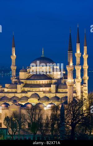 Une vue sur la Mosquée Bleue à Sultanahmet donnant sur le Bosphore à Istanbul Turquie Banque D'Images