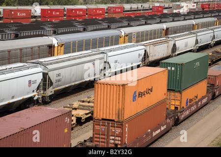 Portrait de wagons de marchandises à l'Union Pacific Railroad Bailey de triage, North Platte, NE Banque D'Images