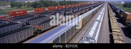 Vue panoramique de wagons de marchandises à l'Union Pacific Railroad Bailey de triage, North Platte, NE Banque D'Images