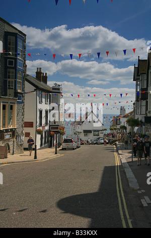 Les grandes orientations à la rue vers la baie de Lyme à Lyme Regis Dorset England UK Banque D'Images
