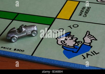 Jeu de Monopoly et aller en prison corner