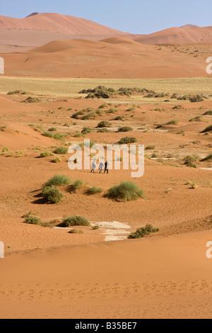 Parmi les visiteurs parcourent les dunes de Sossusvlei Namibie Afrique du Sud Banque D'Images