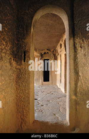 Les grottes de Bhaja - vue de l'intérieur. Bhaja est un groupe de 18 grottes. Dans le 12ème est l'Chaityagriha grotte, Banque D'Images