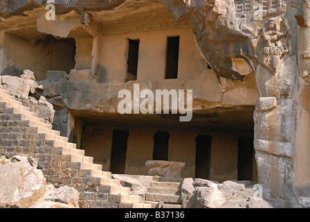 Les grottes de Bhaja sont considérés comme l'expression ultime de l'art de l'Satwahan Hinayana la sculpture. Banque D'Images