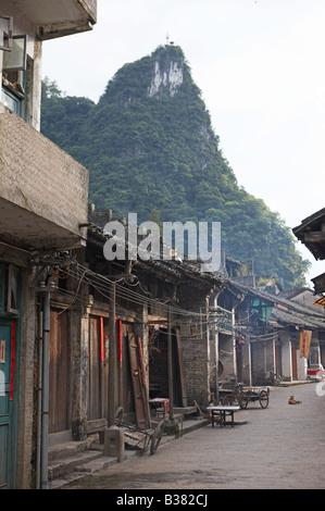Village de Xing Ping district Guilin Chine Banque D'Images