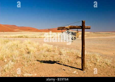 Dune 45 Ouvrir le Namib-Naukluft National Park, Namibie Banque D'Images