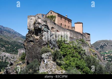 Corte, citadelle. La citadelle de la haute-ville (vieille ville), Corte (ancienne capitale de la Corse indépendante), Banque D'Images