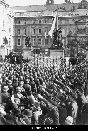 L'arrivée des troupes allemandes, Prague 1939. Banque D'Images