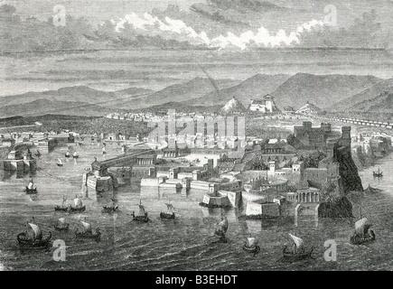 Géographie / voyages, Grèce, Athènes, l'ancien monde, le Seaport Piräus, gravure, 19e siècle, historique, historique, Banque D'Images