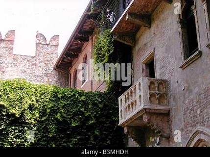 Italie Vérone Balcon de la maison de Juliette à Vérone Banque D'Images