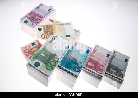 Pile de billets, elevated view