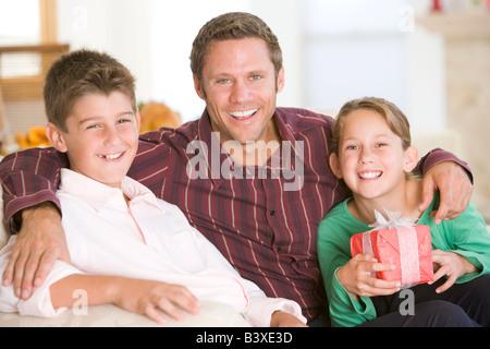 Portrait de famille à Noël Banque D'Images