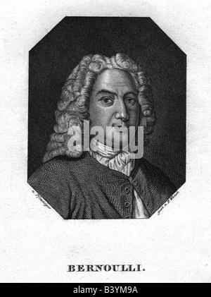 Bernoulli, Daniel, 8.2.1700 - 7.3.1782, mathématicien et physicien Suisse, gravure sur acier par P. Wuest, vers 1840, après la peinture par Pfenniger, n'a pas d'auteur de l'artiste pour être effacé