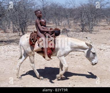 La Namibie, Kaokoland, Opuwo. Deux enfants Himba ride home sur un âne blanc. Leurs corps Luisez d'un mélange d'ocre rouge, de la matière grasse et les herbes. La coiffure arrondie de l'aîné enfant, un garçon, est typique de la jeunesse.Himba Himbas Herero sont-Bantu parlant des nomades qui vivent dans les conditions difficiles, sec mais très beau paysage de la nord-ouest de la Namibie.