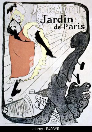 Beaux-arts - Toulouse-Lautrec, Henri de (1864 - 1901), l'affiche pour Jardin de Paris, avec la danseuse Jane Avril, Banque D'Images