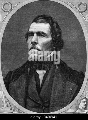 Delacroix, Eugene, 26.4.1798 - 13.8.1863, peintre français, portrait, gravure en bois, Banque D'Images